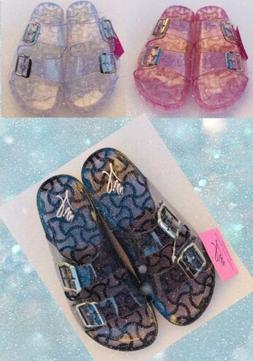 Womens Girls Jelly Slides Beach Pool Water Sandals Glitter A