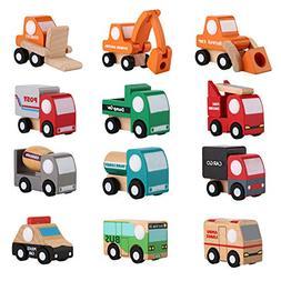 NaKita Kids Wooden Toy Cars Set, 12 Pcs Mini Engineering Tru